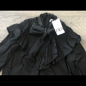 ZARA black blouse with bow